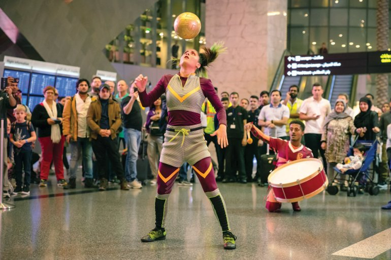 Photo of Passengers at HIA Enjoy Performance by Cirque du Soleil