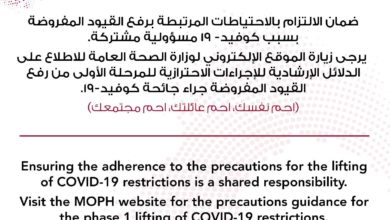 Photo of MOPH: Official Precautions Guidelines For Phase 1 Of Easing Restrictions