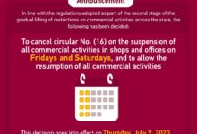 Photo of MOCI: Cancellation Of Suspension Of All Commercial Activities On Fridays & Saturdays, Effective From 9th July 2020